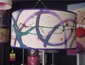 pantalla de lámpara de pie pintada